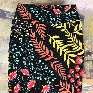Lularoe M Floral Pencil Skirt Black Yellow Coral